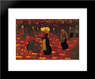 Chestnut Gatherers: Modern Black Framed Art Print by Georges Lacombe