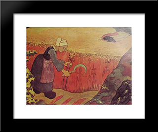 Harvesting Of Buckwheat In Britain: Modern Black Framed Art Print by Georges Lacombe