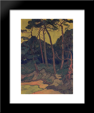 Pines On The Shore: Modern Black Framed Art Print by Georges Lacombe