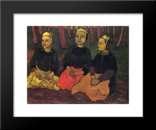 Three Breton Women In The Forest: Modern Black Framed Art Print by Georges Lacombe