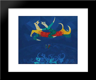 Chiens De Cirque: Modern Black Framed Art Print by Georges Papazoff