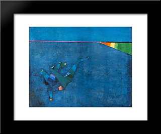 Composition (Blue Background): Modern Black Framed Art Print by Georges Papazoff