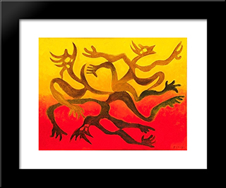 Figures Et Ombres: Modern Black Framed Art Print by Georges Papazoff