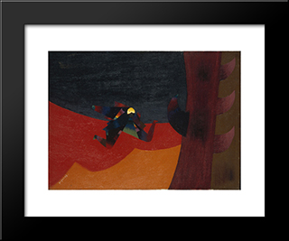 Love On The Beach: Modern Black Framed Art Print by Georges Papazoff