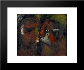 Self Portrait With Madame Papazoff: Modern Black Framed Art Print by Georges Papazoff