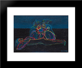 Trois Figures: Modern Black Framed Art Print by Georges Papazoff