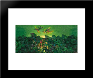 Two Birds: Modern Black Framed Art Print by Georges Papazoff