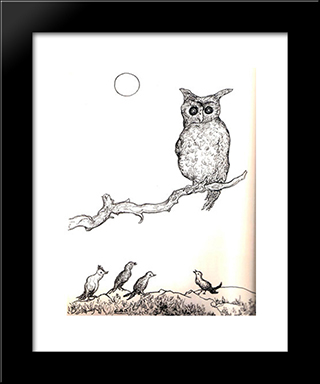 Untitled (Owl): Modern Black Framed Art Print by Georges Ribemont Dessaignes