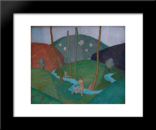 Untitled (River And Hills): Modern Black Framed Art Print by Georges Ribemont Dessaignes
