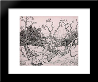 Untitled (Trees): Modern Black Framed Art Print by Georges Ribemont Dessaignes