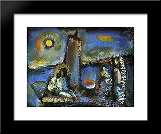 Christ On The Lake: Modern Black Framed Art Print by Georges Rouault