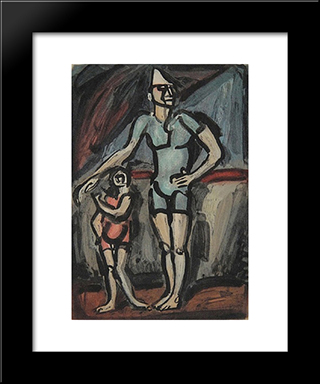 Clown Et Enfant: Modern Black Framed Art Print by Georges Rouault