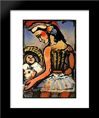 Dors Mon Amour (Sleep My Love): Modern Black Framed Art Print by Georges Rouault