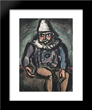 Le Vieux Clown: Modern Black Framed Art Print by Georges Rouault