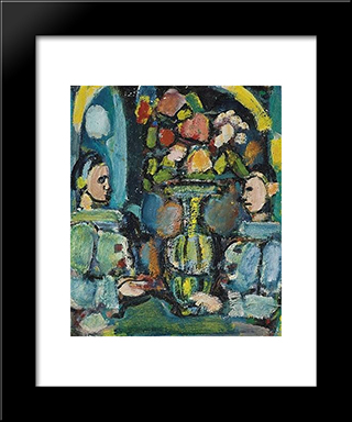 Pierrots Bleus Au Bouquet: Modern Black Framed Art Print by Georges Rouault