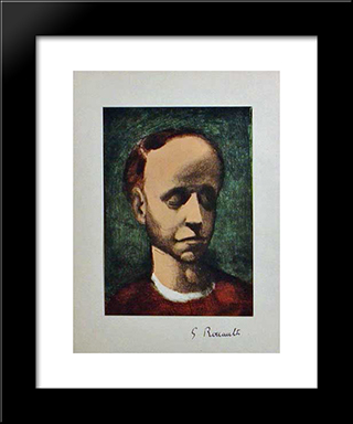 Self - Portrait: Modern Black Framed Art Print by Georges Rouault
