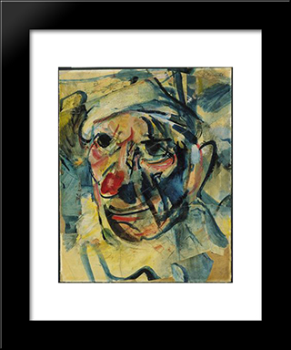 The Clown: Modern Black Framed Art Print by Georges Rouault