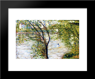 A Canoes: Modern Black Framed Art Print by Georges Seurat