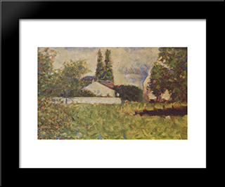 A House Between Trees: Modern Black Framed Art Print by Georges Seurat