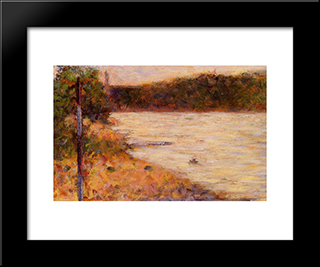 A River Bank (The Seine At Asnieres): Modern Black Framed Art Print by Georges Seurat