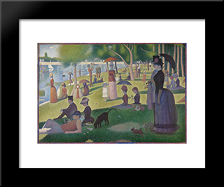 A Sunday On La Grande Jatte -1884: Modern Black Framed Art Print by Georges Seurat