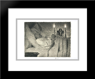 Anais Faivre Haumonte On Her Deathbed: Modern Black Framed Art Print by Georges Seurat