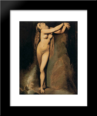 Angelica At The Rock (After Ingres): Modern Black Framed Art Print by Georges Seurat