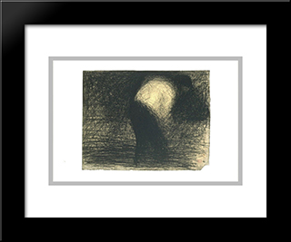 At Work The Land Man'S Face In Profile, Leaning Forward: Modern Black Framed Art Print by Georges Seurat