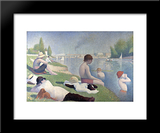 Bathers At Asnieres: Modern Black Framed Art Print by Georges Seurat