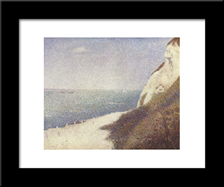 Beach At Bas Butin, Honfleur: Modern Black Framed Art Print by Georges Seurat