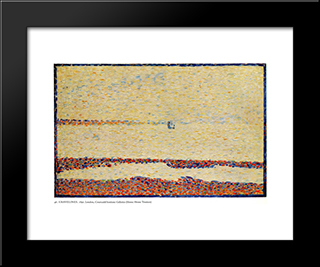 Beach At Gravelines: Modern Black Framed Art Print by Georges Seurat