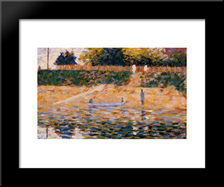 Boats Near The Beach At Asnieres: Modern Black Framed Art Print by Georges Seurat