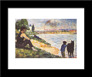 Boy With Horse: Modern Black Framed Art Print by Georges Seurat