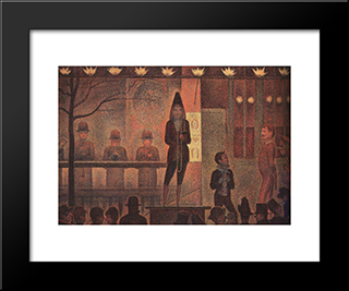 Circus Sideshow: Modern Black Framed Art Print by Georges Seurat