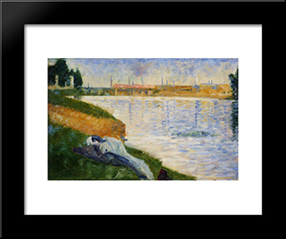 Clothes On The Grass: Modern Black Framed Art Print by Georges Seurat
