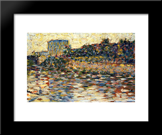 Courbevoie, Landscape With Turret: Modern Black Framed Art Print by Georges Seurat