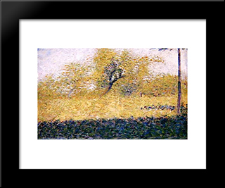 Edge Of Wood, Springtime: Modern Black Framed Art Print by Georges Seurat