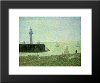 End Of The Jetty, Honfleur: Modern Black Framed Art Print by Georges Seurat