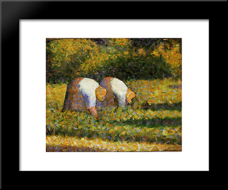 Farm Women At Work: Modern Black Framed Art Print by Georges Seurat