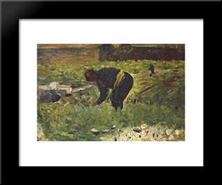Farmer To Work: Modern Black Framed Art Print by Georges Seurat