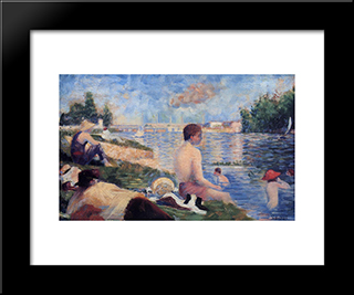 Final Study For Bathing At Asnieres: Modern Black Framed Art Print by Georges Seurat