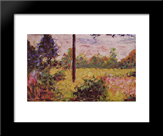 Forest Of Barbizon: Modern Black Framed Art Print by Georges Seurat