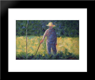 Gardener: Modern Black Framed Art Print by Georges Seurat