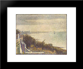Grandcamp, Evening: Modern Black Framed Art Print by Georges Seurat
