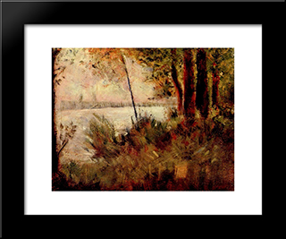 Grassy Riverbank: Modern Black Framed Art Print by Georges Seurat