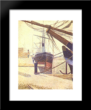 Harbor In Honfleur: Modern Black Framed Art Print by Georges Seurat