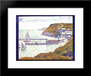 Harbour At Port-En-Bessin At High Tide: Modern Black Framed Art Print by Georges Seurat