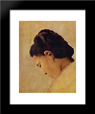Head Of A Girl: Modern Black Framed Art Print by Georges Seurat