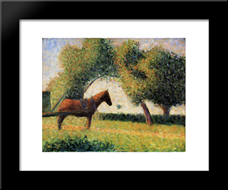 Horse And Cart: Modern Black Framed Art Print by Georges Seurat