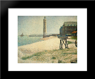Hospice And Lighthouse, Honfleur: Modern Black Framed Art Print by Georges Seurat